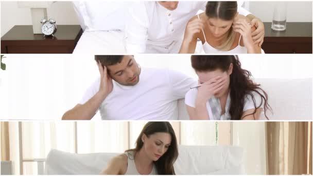 Montaje de las mujeres tristes y sus novios — Vídeo de stock
