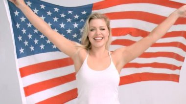 US flag flying in super slow motion — Stock Video