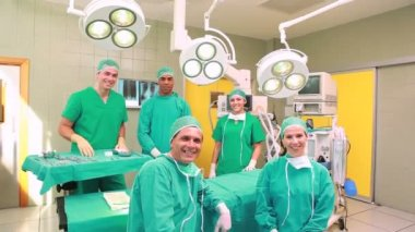 Several Surgeons surrounding an operation table — Stock Video