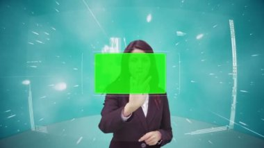 Businesswoman scrolling through interface with chroma key — Stock Video