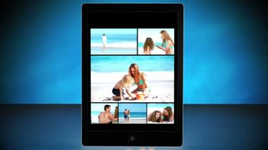 Vacation montage on digital tablet — Stock Video