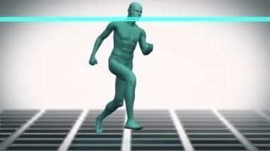 Digital body running on white background — Stock Video