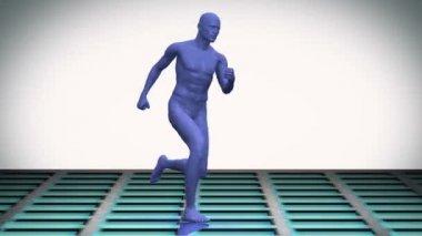 Digital blue body running on white background — Stock Video