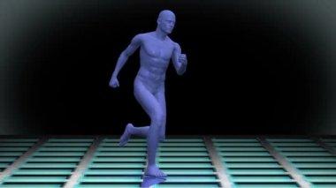 Digital blue body running on black background — Stock Video
