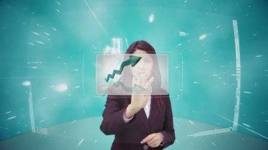 Businesswoman using futuristic interface — Stock Video