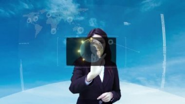 Businesswoman using interactive touchscreen interface — Stock Video