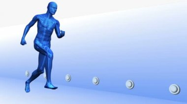 Digital blue human running with highlighted joints — Stock Video