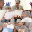 Montage of families celebrating a birthday — Stock Video