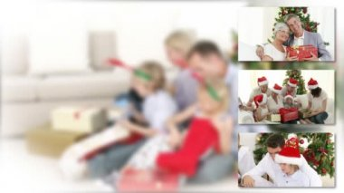 Positive family celebrating christmas with children — Stock Video