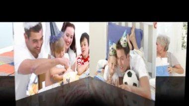 Animacja rodzin obchodzi urodziny dzieci — Wideo stockowe
