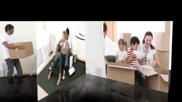 Animation des familles rénovant une salle — Vidéo