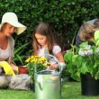 Parents with their children gardening — Stock Video