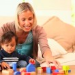 Young woman showing her baby how to play with building blocks — Stock Video #23495869