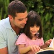 Father reading to his small daughter — Stock Video