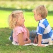 Two young children talking together — Stock Video
