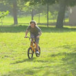 Young boy cycling — Stock Video
