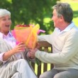 Mature man giving a bunch of flowers to his wife — Stock Video