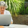 Retired woman using a laptop outdoors — Stock Video