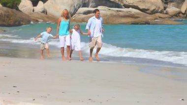 Family walking on a beach — Stockvideo