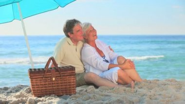 Mature couple hugging on a beach — Stock Video