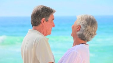 Mature couple looking at the sea — Stock Video