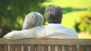 Elderly couple talking while sitting on a bench — Stock Video
