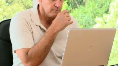 Man working hard on his laptop — Stock Video