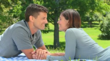 Loving young couple talking outside — Stock Video
