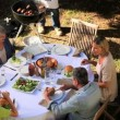 Family barbecue in the garden — Stock Video