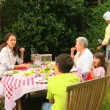 Three generations of a family having a barbecue — Stock Video