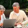 Mature couple sitting outdoors using a laptop — Stockvideo