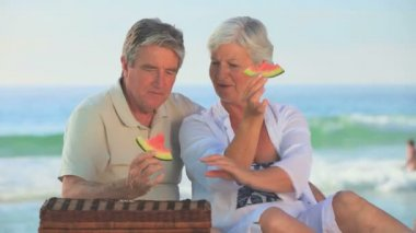 Mature couple eating picnicking on a beach — Stock Video