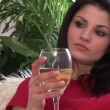 Stock Footage of a Woman Drinking White Wine — Stock Video