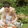 Mother and daughter planting in the garden — Stock Video #23639665