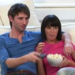 Young Couple Watching Television — Stock Video