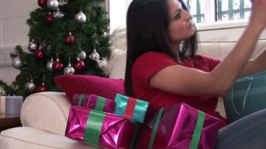 Woman with Christmas Presents — Stock Video