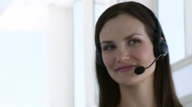 Smiling Business woman with headset on — Stock Video