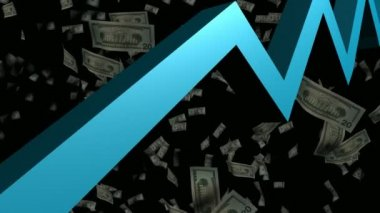 3D Animated Graph with Money — Stock Video