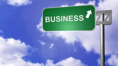 Signpost announcing the Business Way — Stock Video