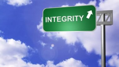 Signpost announcing Integrity Way — Stock Video