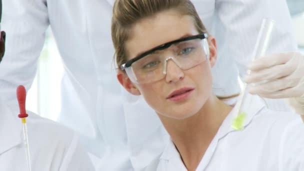 Trois chimistes avec une sonde — Vidéo