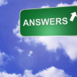 Stock Video: Signpost announcing Answers Way