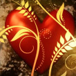 Red heart with floral ornate — Stock Video #23644265