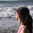 Beautiful Woman at the Beach — Stock Video