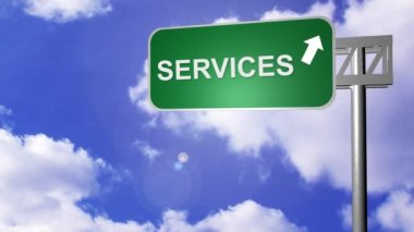 Signpost showing Services Way — Stock Video