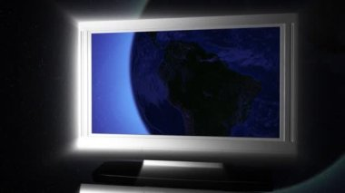 Globe on LCD Television — Stock Video
