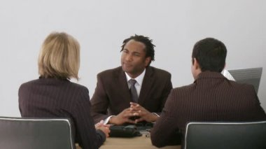 Businessman talking with his associates — Stock Video