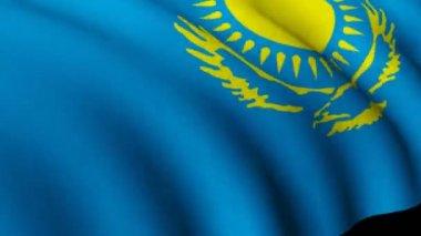 Kazakhstan flag in 3d — Stock Video