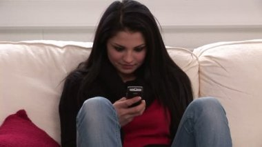 Stock Footage of a Woman sending an SMS — Stock Video