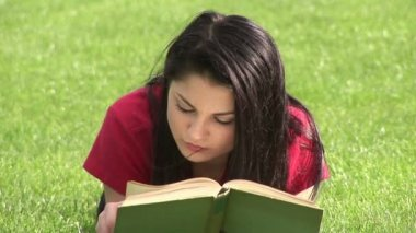 Woman Reading Outdoors — Stock Video